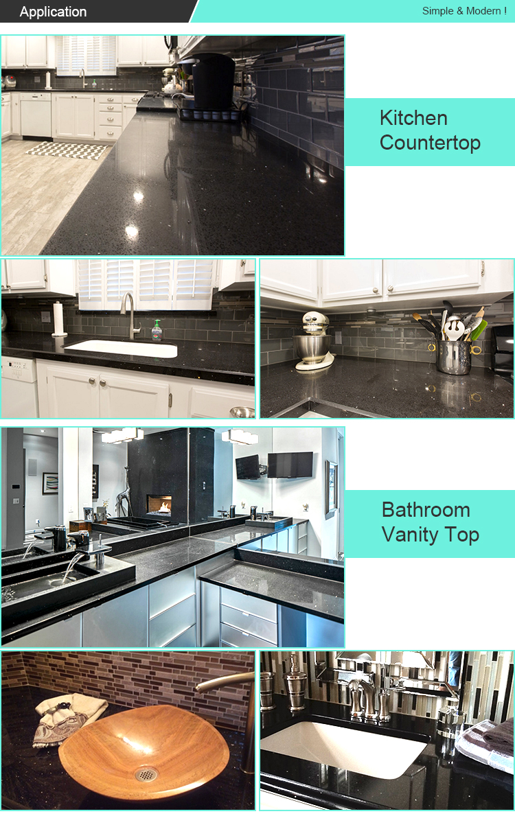 Wholesale Manufacturer Black Galaxy Quartz Stone Countertop