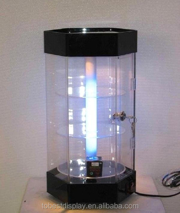 LED illuminated innovative rotating 3 tiers acrylic jewelry display case,acrylic cell phone accessory display