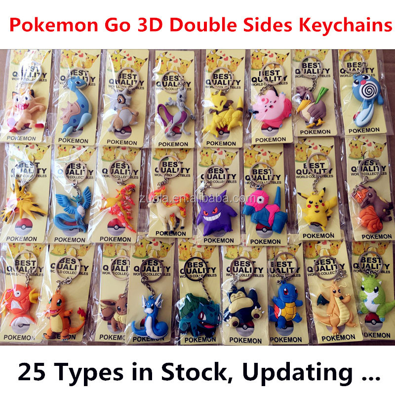 in Stock 25 types double sided 3d keychain Pokemon Go PVC keychains Collections