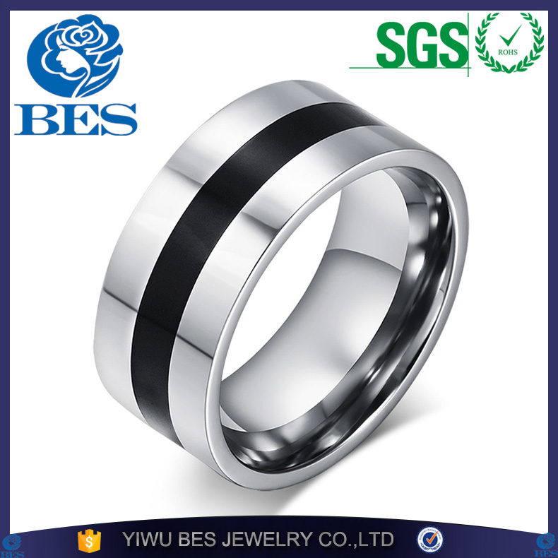 Black Finger Rings for Men Stainless Steel Enamel Engagement Men's Ring Wholesale Party Ring Designer Jewelry