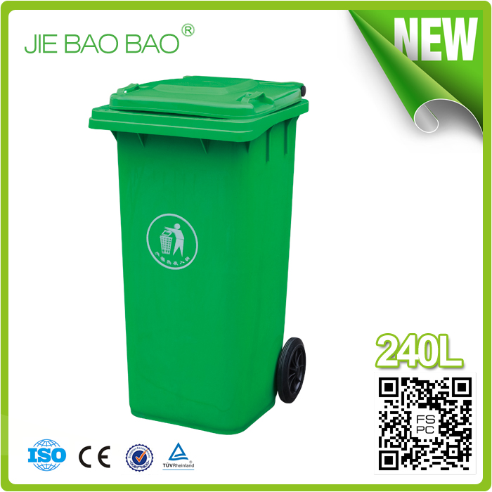 JIE BAOBAO!FACTORY MADE OPEN TOP RED 240L UNBREAKABLE PLASTIC BULK TRASH CANS