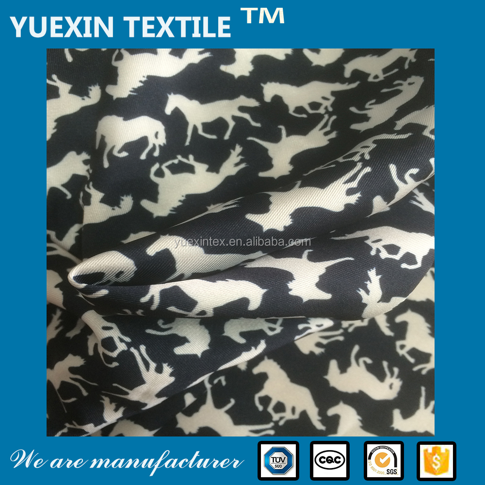 2016 wujiang 100% polyester animal printed cavalry twill fabric