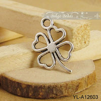 Antiqued Silver Lucky Four Leaf Clover Alloy Pendant Charms
