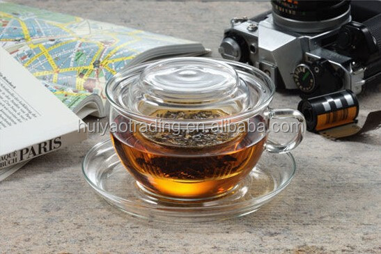 300ml transparent high borosilicated glass tea cup with glass dish and tea infuser