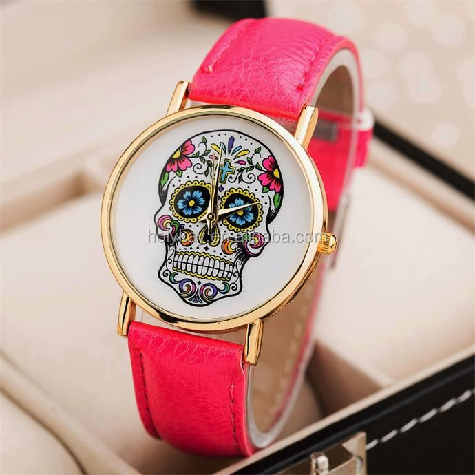 Personalized skull face watch , Fashion leather lady watch , alibaba in spain