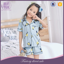 European Children Clothing Wholesale Smocked Kids Girl Sleepwear Clothing Set