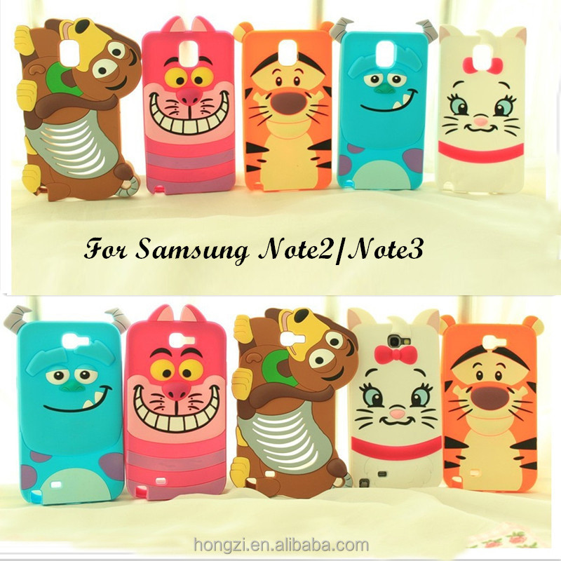 Newest 3D Cartoon animal monster/Tiger/Dog soft silicone case For Samsung galaxy Note2 N7100/Note3 N9000