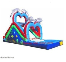 Factory price dolphin inflatable water pool slide for kids and adults
