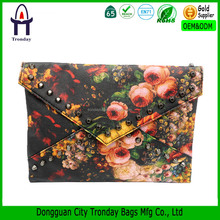 Flower printed envelope clutch bag lady evening clutch bags with shoulder straps