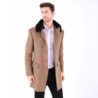 Custom Fashion Clothes England Wool Rich Rabbit Fur Collar Mens Winter Coats Long