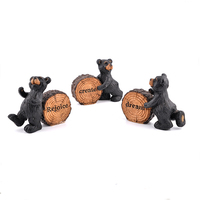 Wholesale! resin black bear playing with round timber