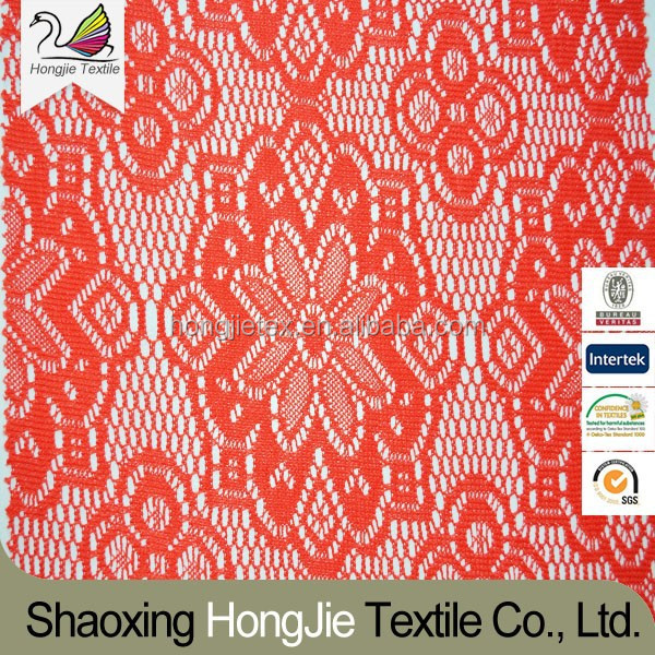 HJ-L1005 thick 100% polyster lace knitted fabric in stock
