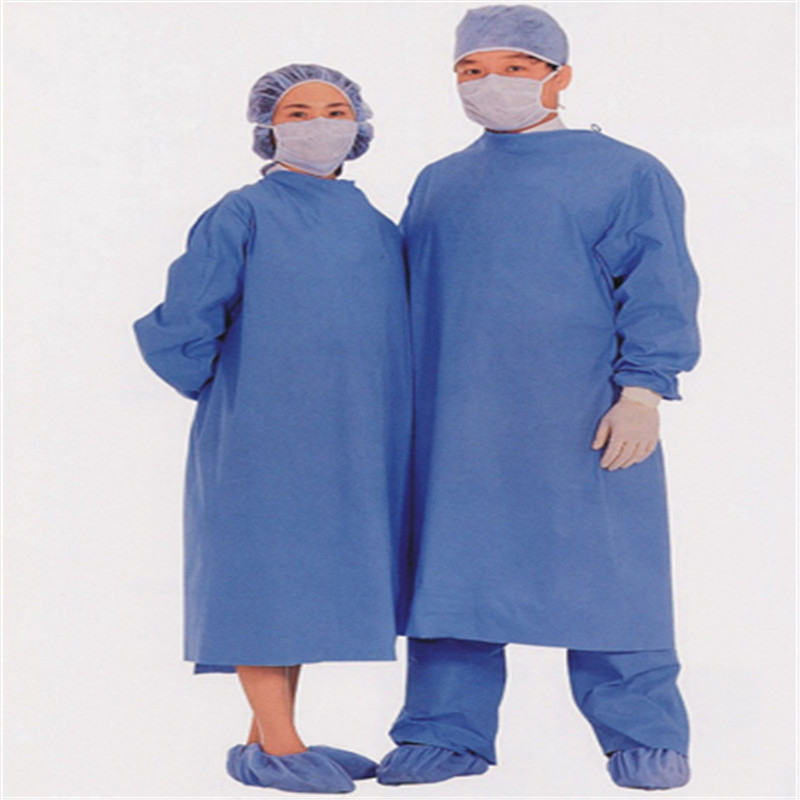 Disposable PP nonwoven/SMS blue Surgical gown/ isolation gown patient gown with elastic and knit cuff ISO standard wholesale