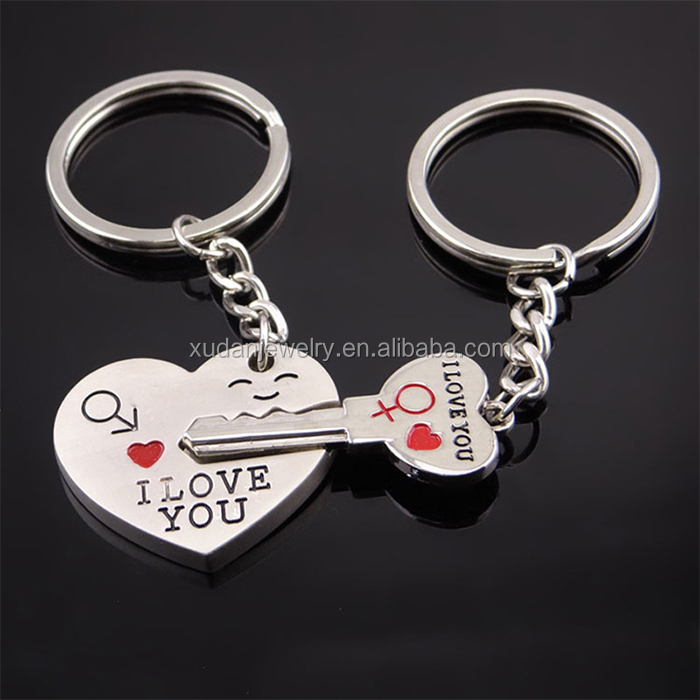 2016 New Couple I LOVE YOU Keyring , Metal Heart Shape Couple Keychain , Lover Romantic Creative Key Chain