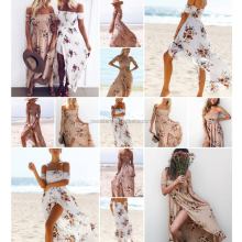AL2056W Off shoulder floral print lady beach dresses maxi dress women long dress