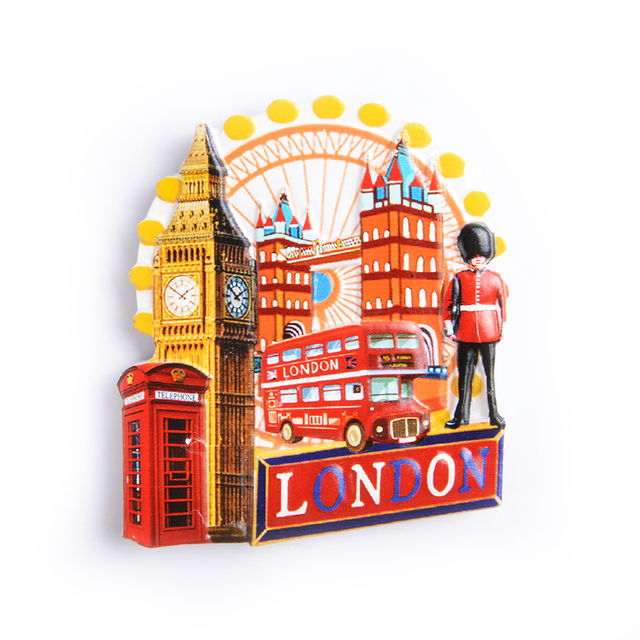 Eye Of London And Double Decker Bus Polyresin Tourist Souvenir Fridge Magnet