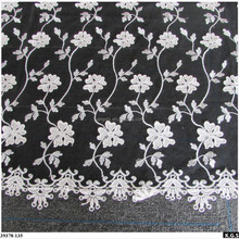 Black mesh emboidery lace with white small flowers