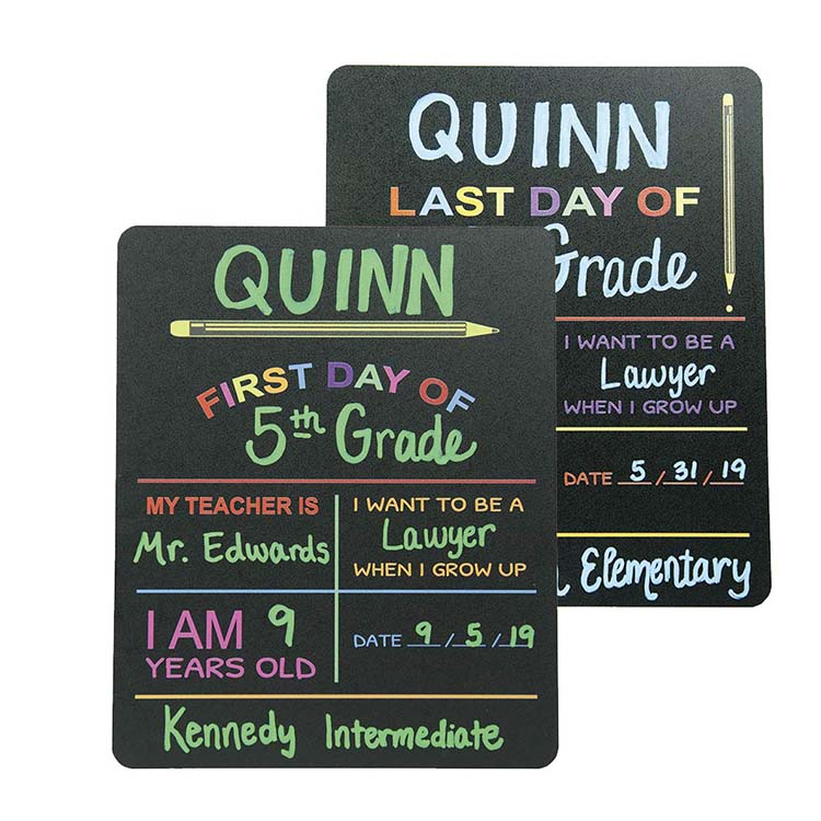First &amp; Last Day of School Chalkboard Sign. Photo Prop Board, Black <strong>w</strong>/color print - 12&quot; x 10&quot;