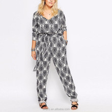 paisley Print Long Sleeve Maxi Jumpsuits and Rompers for fat women, v-neck custom printing ladies designer jumpsuits