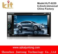 Oem double din 6.2 inch touch screen portable car dvd player with digital tv tuner and bluetooth usb adapter for car stereo