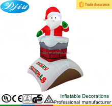 5 ft Christmas Inflatable Santa Claus Chimney Roof Outdoor Decoration