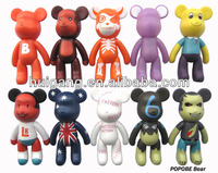 5 inch plastic cartoon figurine set plastic popobe bear toy set home decoration items