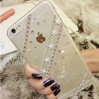 For iPhone 6 6s Transparent Soft TPU Crystal Jeweled Flower Chain Cute Bling Cell Phone Case