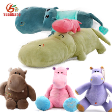 Christmas Cute Baby Fluffy Soft Hippo Animal Custom Stuffed Brown Red Yellow Pink Green Purple Blue Plush Toy Hippo