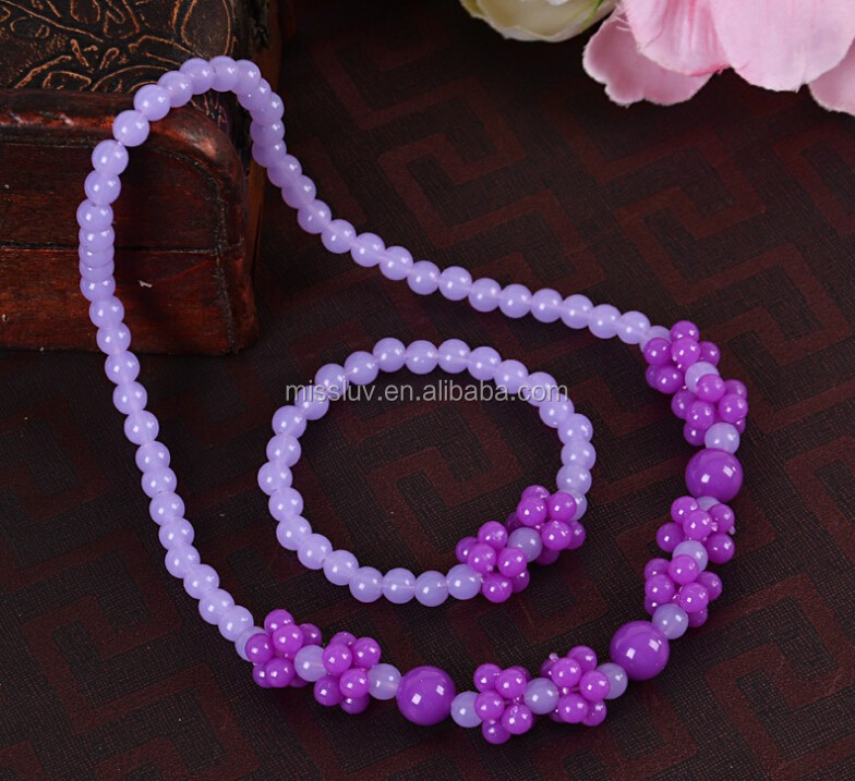 purple color bead necklace set flower cluster ball bead necklace set for kids hot beaded jewelry for children's day