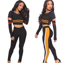 Yoga Crop Top <strong>Sports</strong> 2 Piece Women Tight Fitness Tracksuit