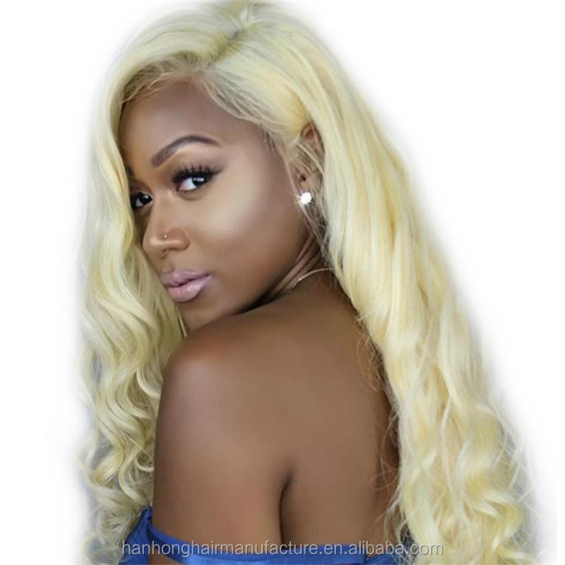 Blonde full lace wig glueless cap #613 big curly wholesale price brazilian human hair wigs