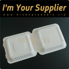 Disposable leakproof high quality hamburger box sugarcane biodegradable bagasse pulp lunch box