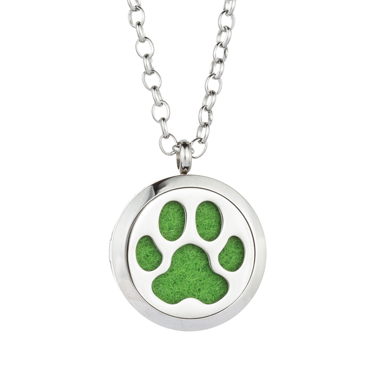 Jenia Dog Paw Stainless Steel Aromatherapy Essential Oil Diffuser Custom Metal Necklace For Men Made