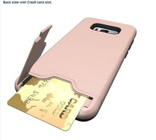 New Heavy Brushed Card Holder Hard <strong>Case</strong> for Samsung Galaxy S8