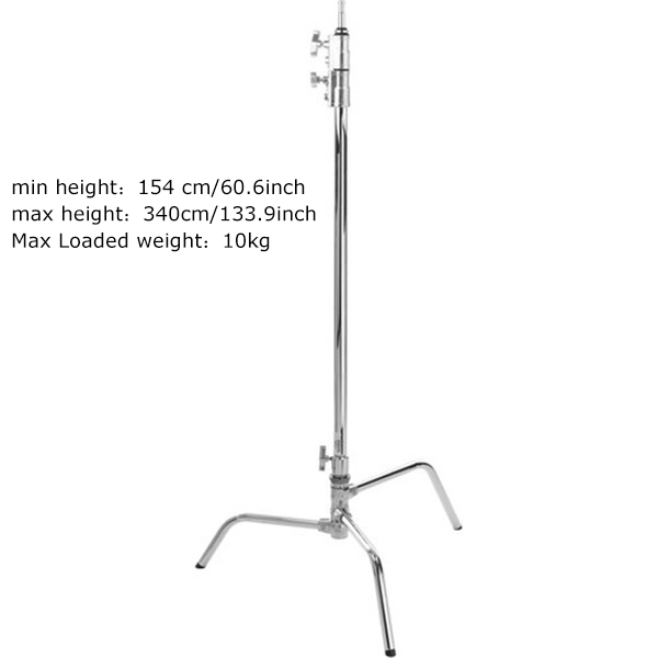 Photo Studio Heavy Duty 3M load 10kg light Stand C Type with boom arm head