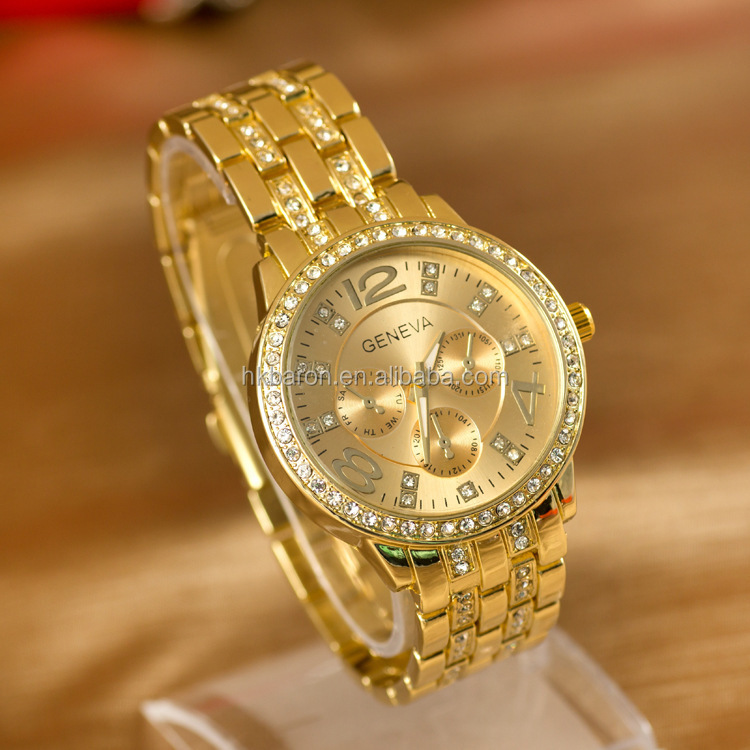Geneva metal case and band gold color rhinestone diamond watches women unisex relojes de marca