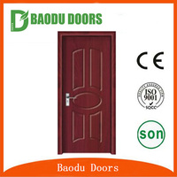 Baodu brand swing single leaf PVC wooden door with CE SONCAP certificate