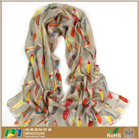 Grey 100% wool fabric pashmina scarf shawl wrap with colorful feather large fine wool scarves for women