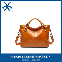 Cowhide leather classical stlye ladies handbag