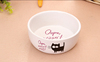 Haonai pet stoneware cat feeder cat dish cat bowl with decal