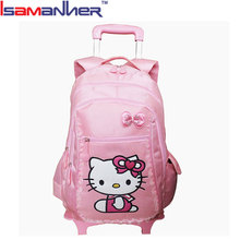 New style pink cute girl hello kitty trolley bag, trendy hello kitty luggage bag