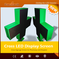 PanaTorch High Quality P10RG DIP Led Pharmacy Cross Display Signs IP65 Waterproof metal/Aluminum cabinet
