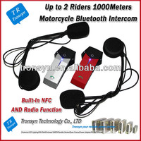 Hot selling 1000M Full-duplex bluetooth interphone for motorcycle Built-in NFC Function