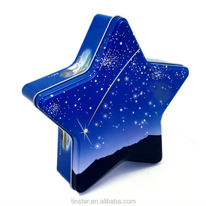 Food grade star shape christmas cookies gift tin box for packaging