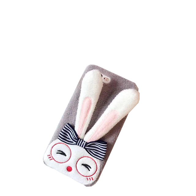 Wholesale cute rabbit stand holder plush phone case for iPhone 6 7 8 plus
