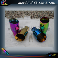 Polished Stainless titanium coated excellent quality universal singel muffler tips for cars