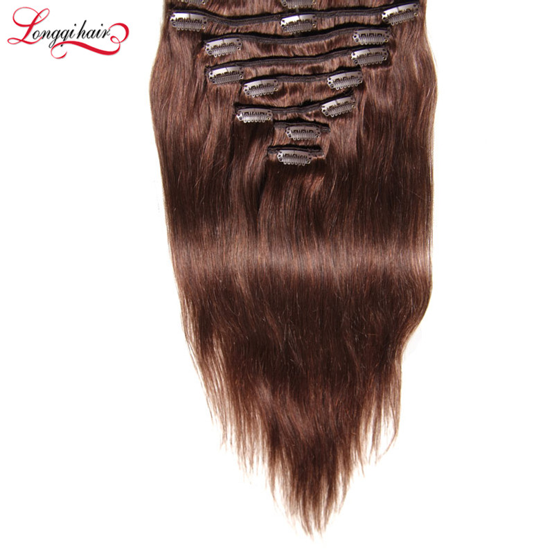 Copper Brown Color Weave Human Hair Clip In Remy Human Hair Extension