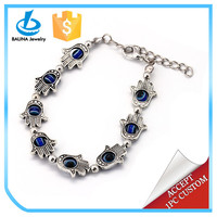 Vogue antique silver alloy hamsa evil eye decorated hand shaped bracelet