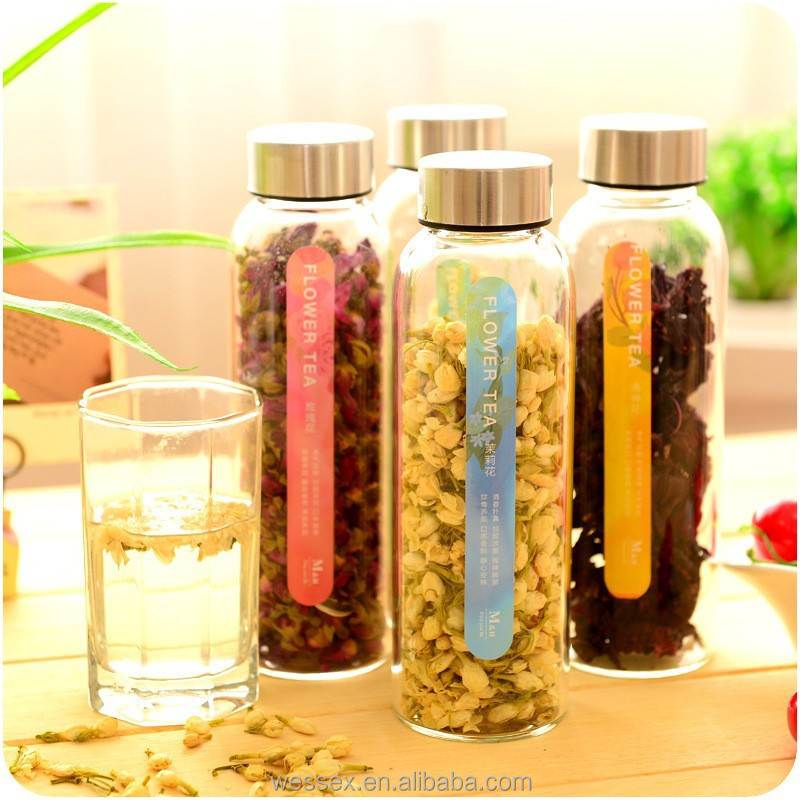 Japanese Style Glass Water Bottle With Flower Tea Buy