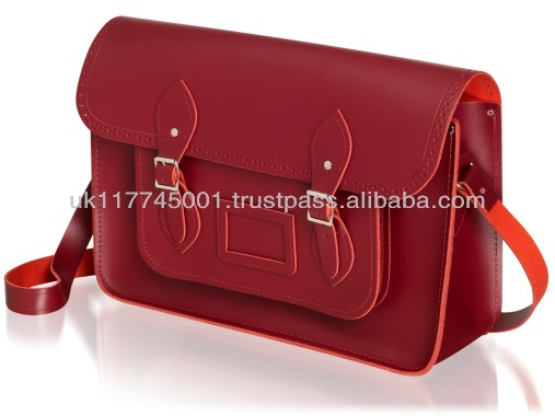 ANU London Satchel 11.5 inch - Traditional British Satchel Bags *Handmade in England* - Red